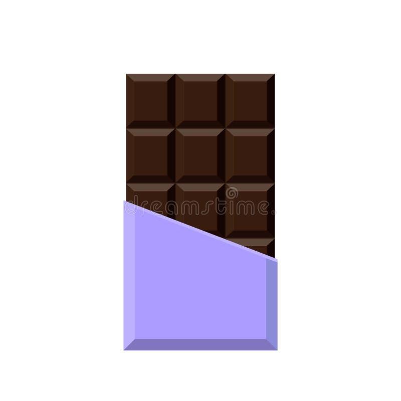 Bar de chocolat réaliste d'isolement sur le fond blanc illustration stock
