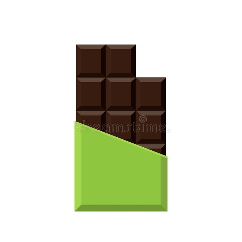 Bar de chocolat réaliste d'isolement sur le fond blanc illustration de vecteur