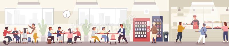 Bar de escola, cantina ou salão de jantar com os alunos que levam bandejas com refeições, sentando-se em tabelas e comendo o almo ilustração stock