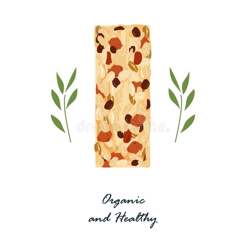 Bar de granola d'isolement sur le blanc Casse-croûte sain avec des nats et des fruits secs Nourriture de vecteur de barres d'éner illustration stock