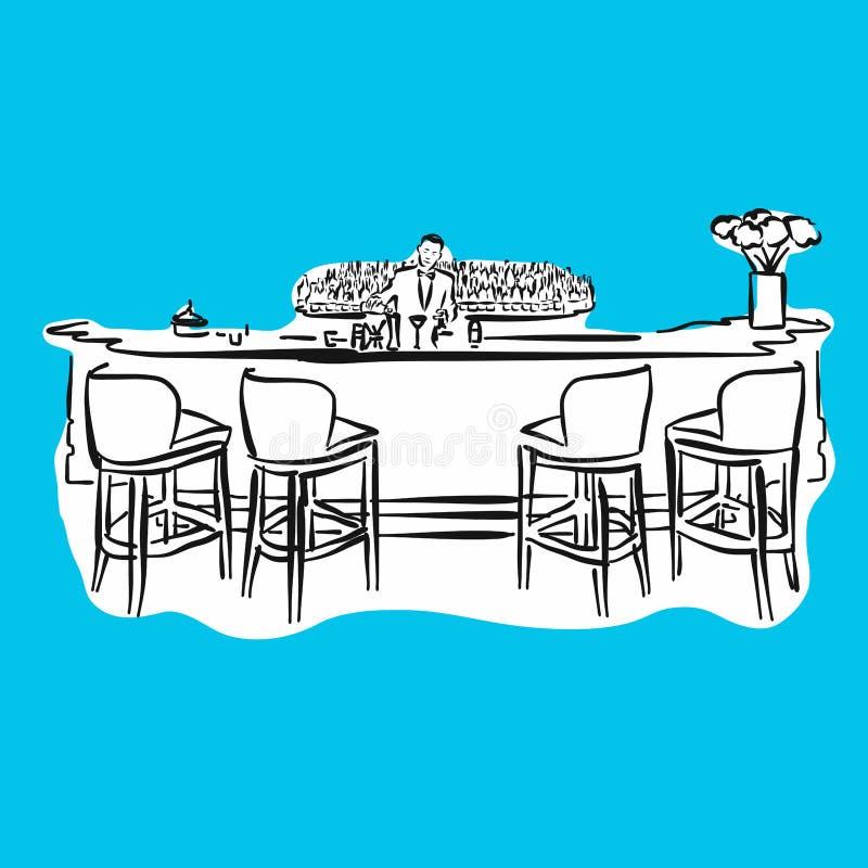Bar di hotel con il barista, serie blu illustrazione vettoriale