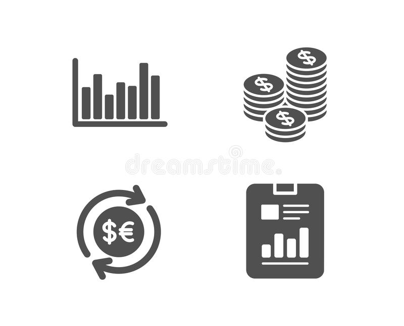 Bar diagram, Coins and Money currency icons. Report document sign. Set of Bar diagram, Coins and Money currency icons. Report document sign. Statistics royalty free illustration