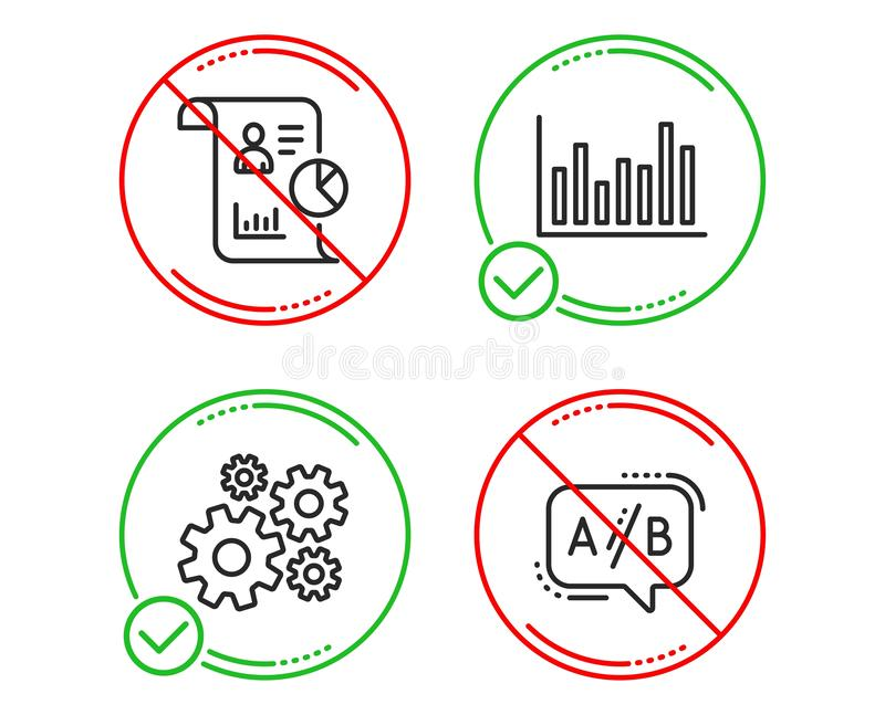Bar diagram, Report and Cogwheel icons set. Ab testing sign. Vector. Do or Stop. Bar diagram, Report and Cogwheel icons simple set. Ab testing sign. Statistics vector illustration