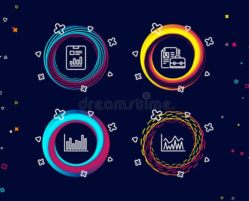 Bar diagram, Report document and Vacancy icons. Investment sign. Set of Bar diagram, Report document and Vacancy icons. Investment sign. Statistics infochart royalty free illustration