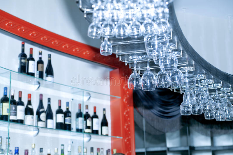 Bar with drinks stock photos