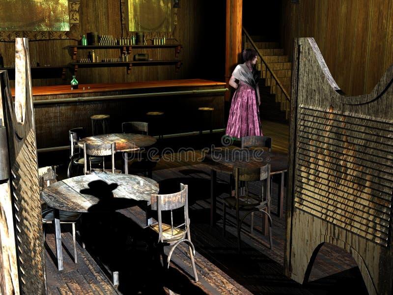 Bar e menina ocidentais idosos ilustração do vetor