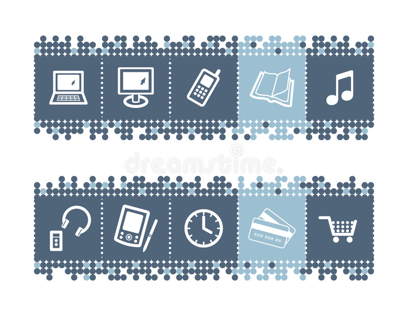 Download Bar with e-shop icons stock vector. Image of cart, notebook - 4574371