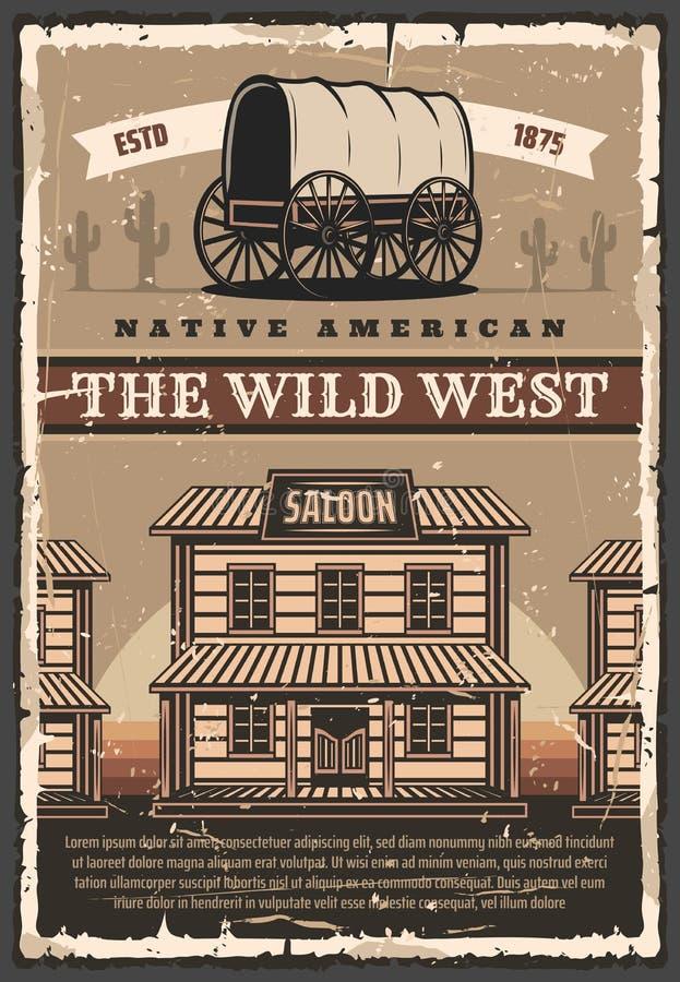 Bar e vagão ocidentais selvagens americanos, cartaz retro ilustração stock
