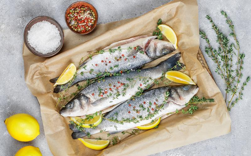 Bar frais de poisson cru photos libres de droits