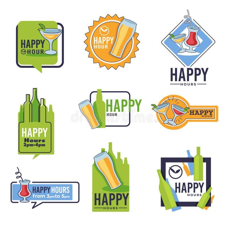 Bar gelukkige uur geïsoleerde pictogrammen, bier en cocktails, alcoholdranken royalty-vrije illustratie