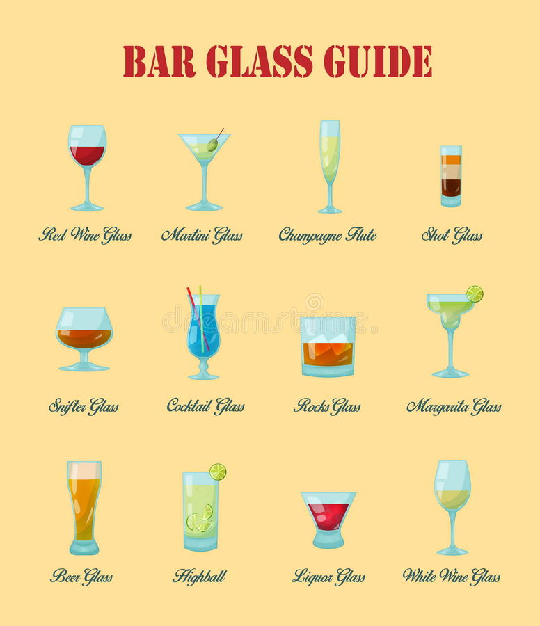 Bar glass guide: a collection of various kinds of bar glasses, their proper naming and usage for drinks. stock illustration
