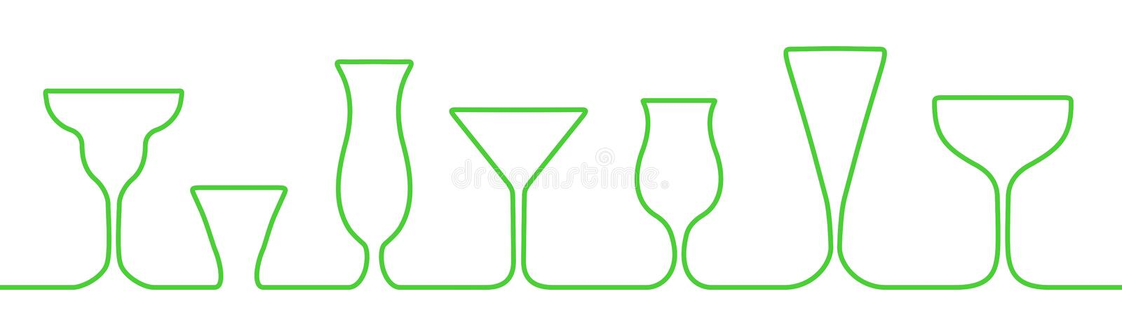 Bar glasses one line icons set. Wine glass, cups, mugs  stock vector royalty free illustration