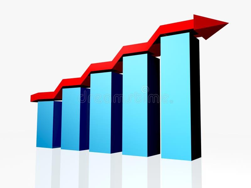 Bar Graph. 3D bar graph with arrow vector illustration