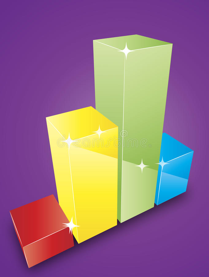 Bar graph. Colored bar graph of blocks on a dark background royalty free illustration