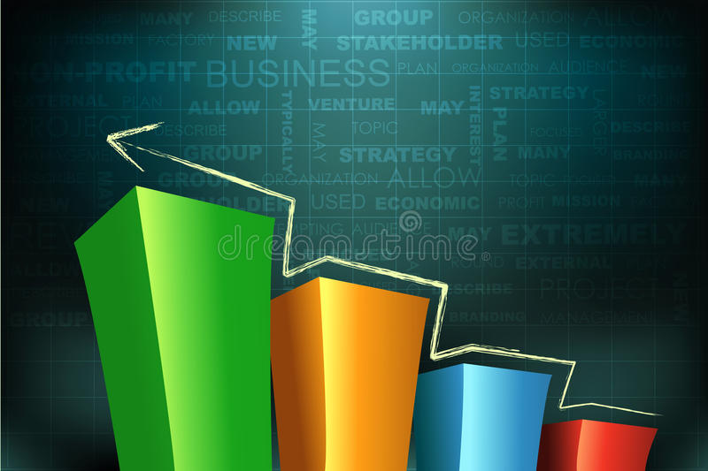 Bar graph. Illustration of bar graph on abstract business background vector illustration