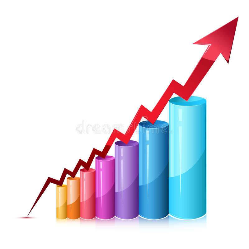 Bar Graph. Illustration of bar graph with rising arrow on isolated background royalty free illustration