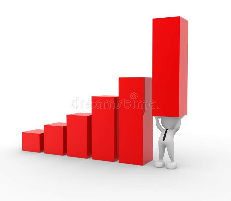 Bar graph. 3d people - man, person holding up a bar graph, demonstrating success or achievement vector illustration