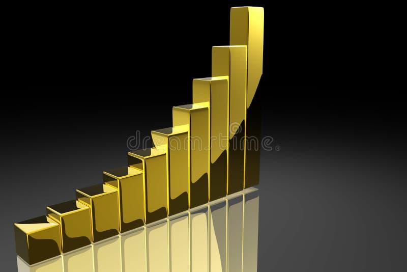 Bar graph. Shiny bar graph in gold vector illustration