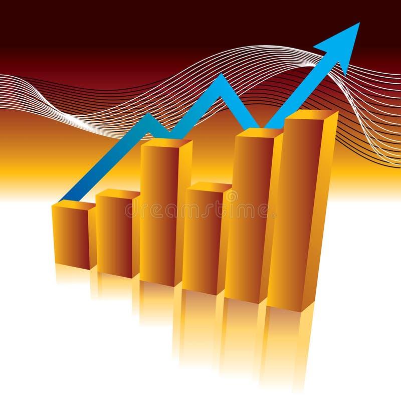 Bar Graph. With growth arrow vector illustration