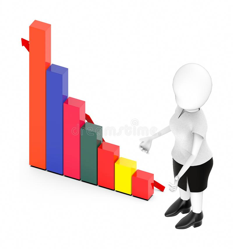 Bar graph and arrow. 3d rendering vector illustration