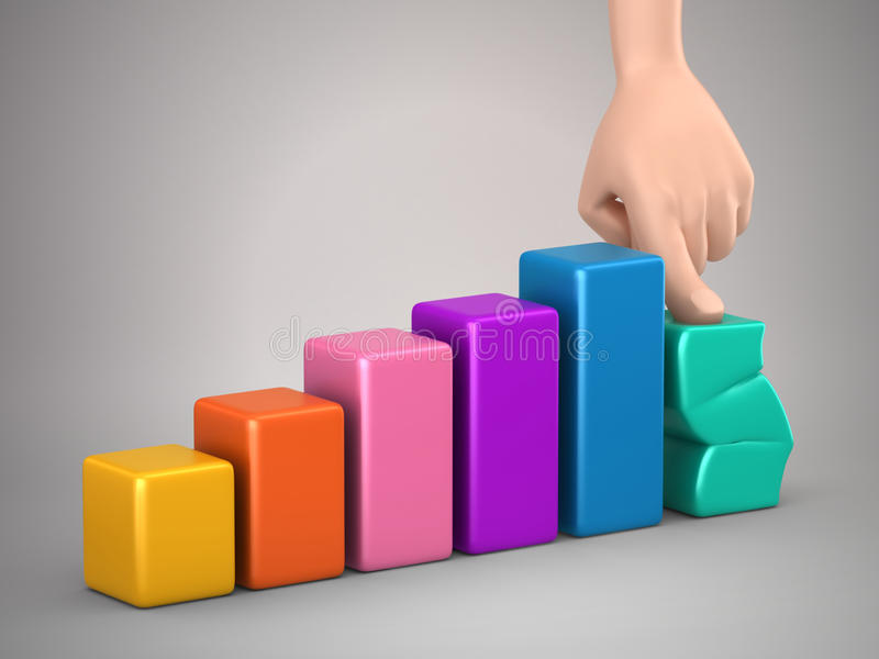 Bar graph. 3d render of bar graph and a hand pressing it down royalty free illustration