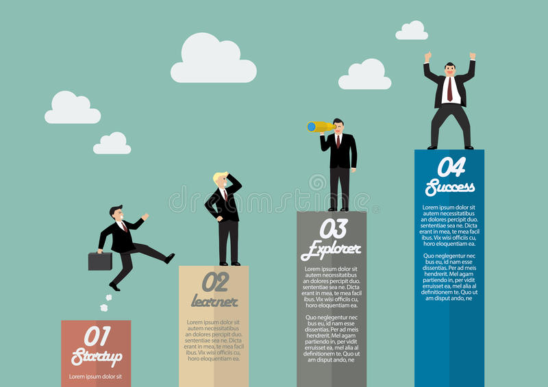 Bar graph infographic with businessmen in various activity. Business concept vector illustration