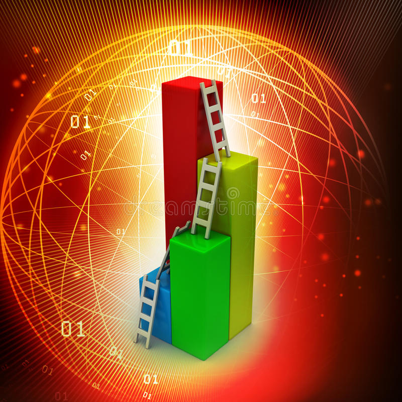 Bar graph with ladder. In color background vector illustration