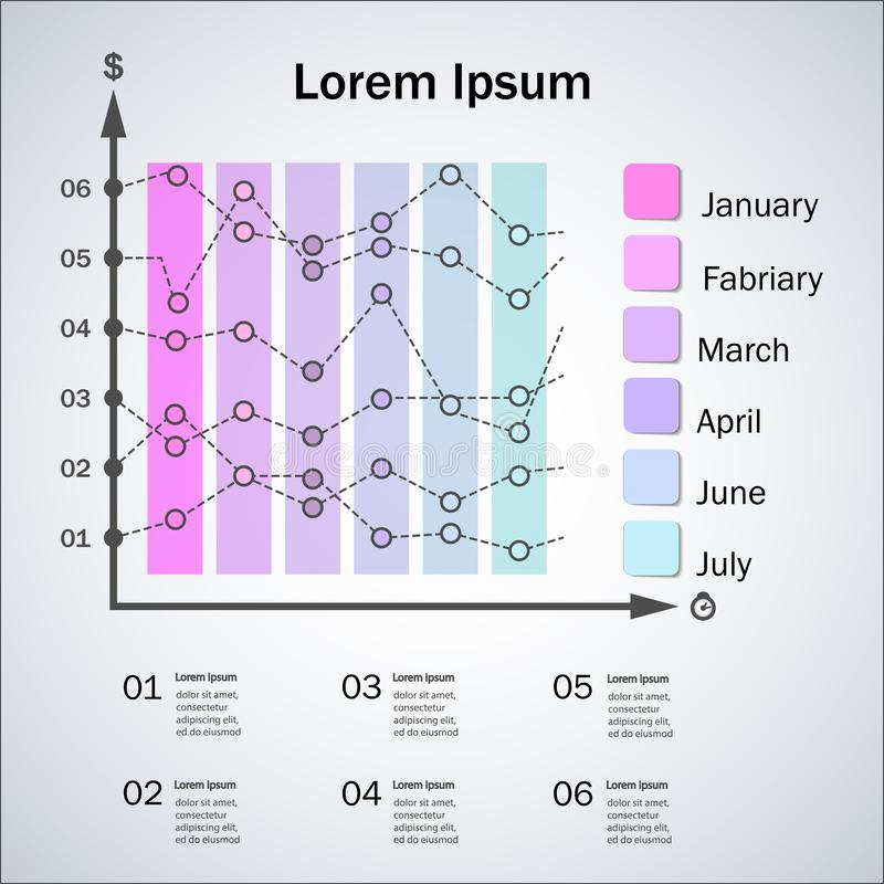 Bar graph and line graph templates, business infographics, vector eps10 illustration. Business Strategy Information Innovation Data Concept royalty free illustration