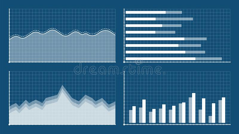 Bar graph and line graph templates, business infographics, vector illustration. Graphs and charts set. Statistic and vector illustration