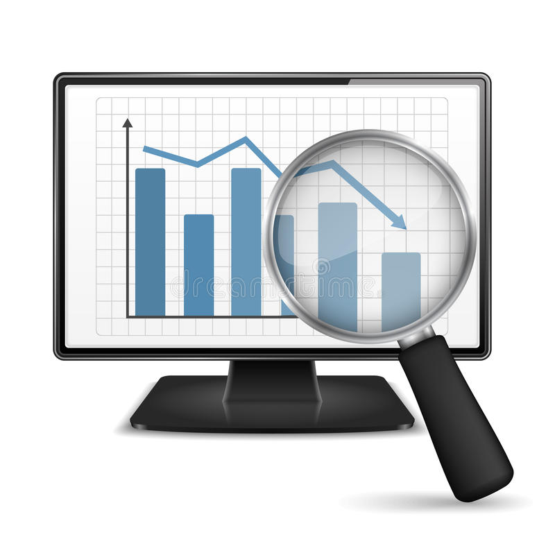 Bar Graph. Magnifying glass showing falling bar graph on the screen of a computer vector illustration