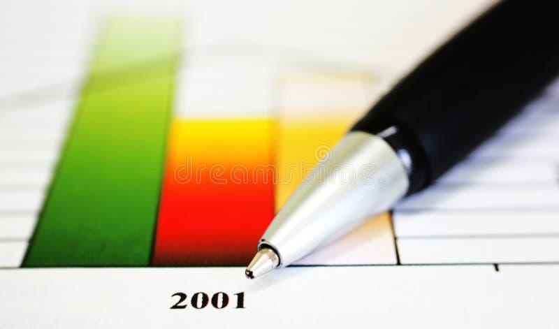 Bar graph with pen stock photos