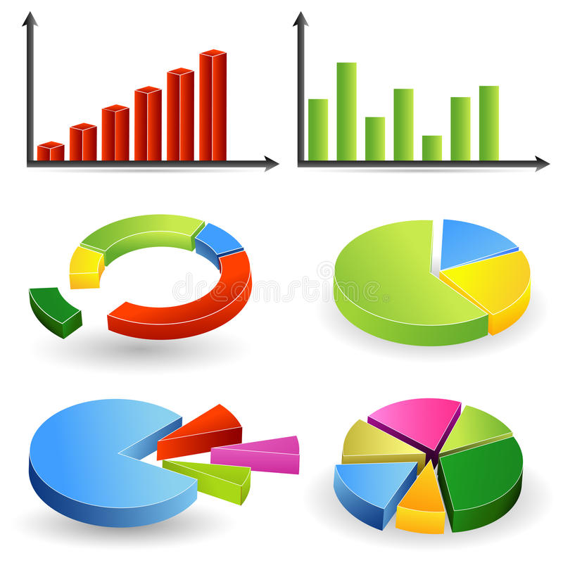 Bar Graph and Pie Chart. Illustration of different bar graph and pie chart vector illustration