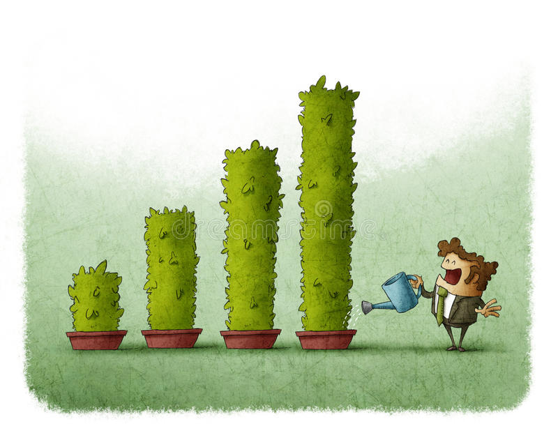 Bar graph plant. Business man watering plants grow as a bar graph royalty free illustration