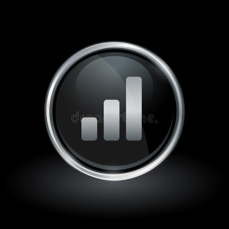 Bar Graph Progress Icon Inside Round Silver And Black Emblem Stock