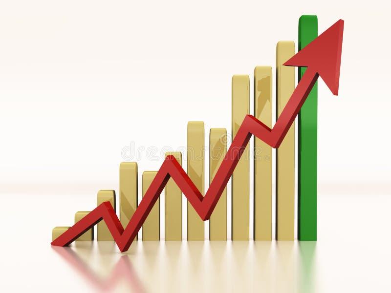 Bar graph rising royalty free illustration