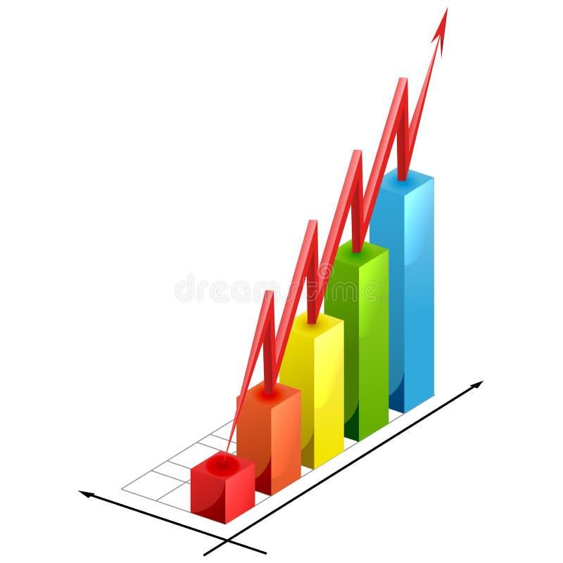 Bar graph. With rising arrow stock illustration