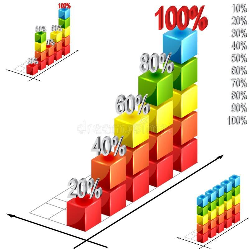 Bar graph. Rising bar graph - vector illustration stock illustration