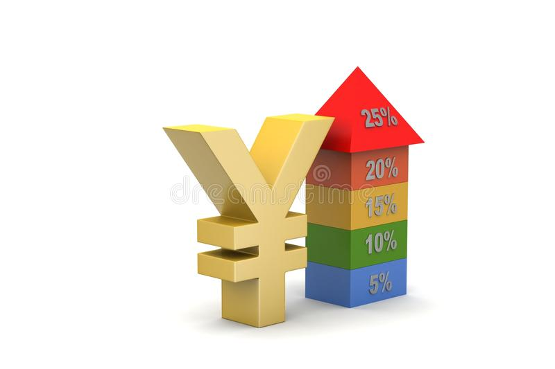 Bar graph showing growth with currency sign royalty free illustration