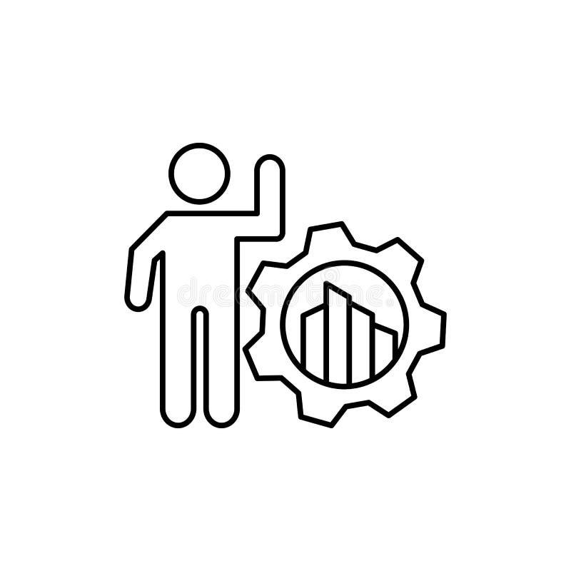 Bar graph statistics gear building icon. Element of consumer behavior line icon. On white background stock illustration