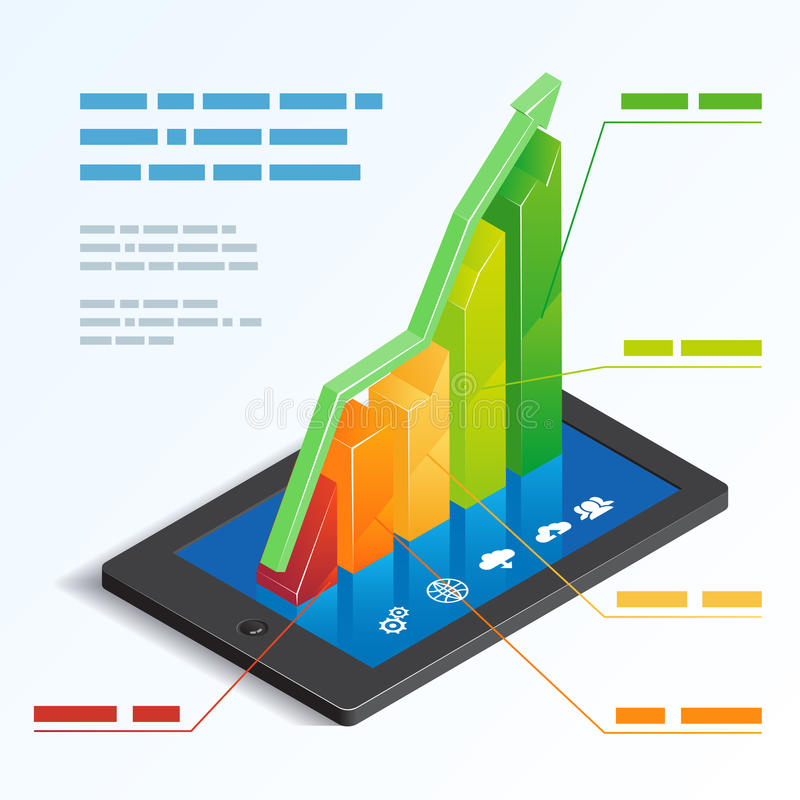 Bar graph on a tablet touchscreen stock illustration