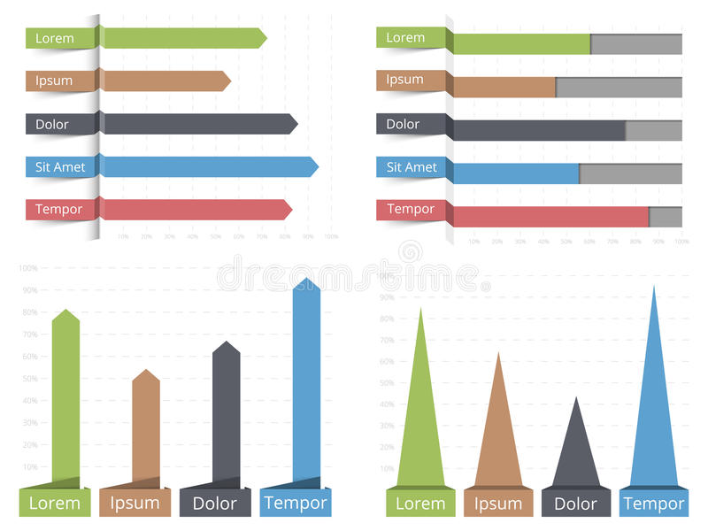Bar Graphs. Four bar graphs, horizontal and vertical bar graphs with text, business infographics templates stock illustration