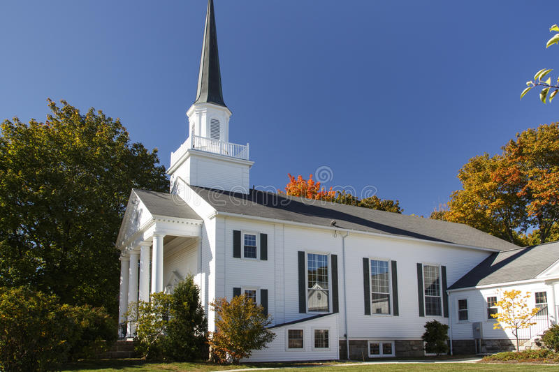 Bar Harbor Congregational Church, USA, 2015. The Bar Harbor Congregational Church is located on the Village Green in the center of the city royalty free stock image