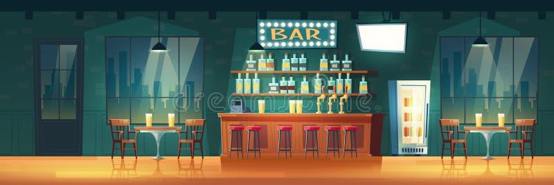 Bar in het beeldverhaal vectorbinnenland van de avondmetropool stock illustratie