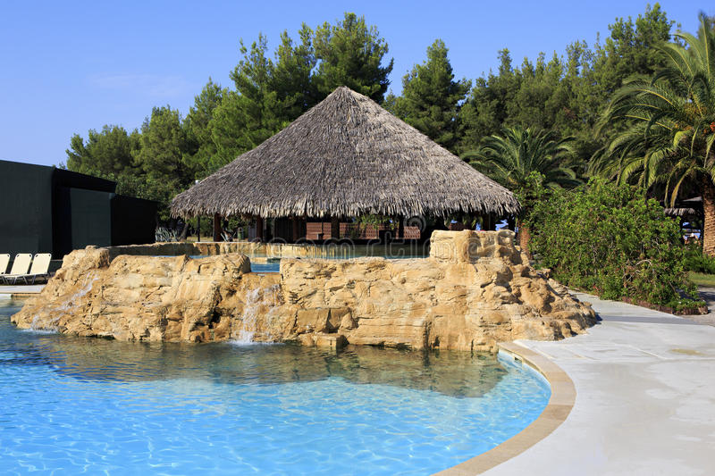 Bar in hotel pool Porto Carras Sithonia. royalty free stock images