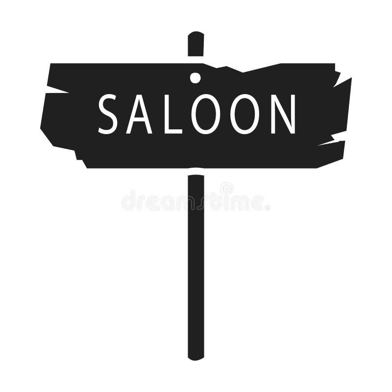 Bar ikona w czerń stylu odizolowywającym na białym tle Wlid symbolu zapasu wektoru zachodnia ilustracja royalty ilustracja