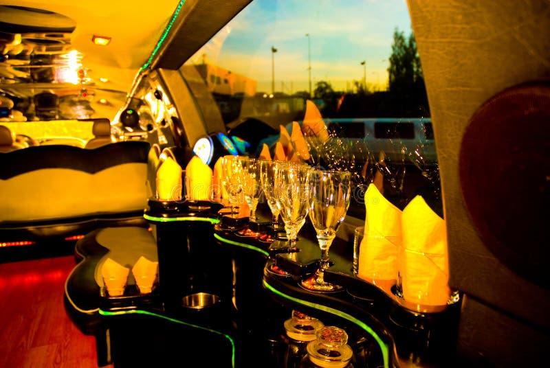 Bar inside modern limousine