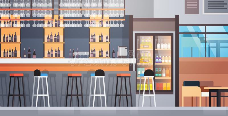 Bar Interior Cafe Counter With Bottles Of Alcohol And Glasses On Shelf. Flat Vector Illustraton stock illustration