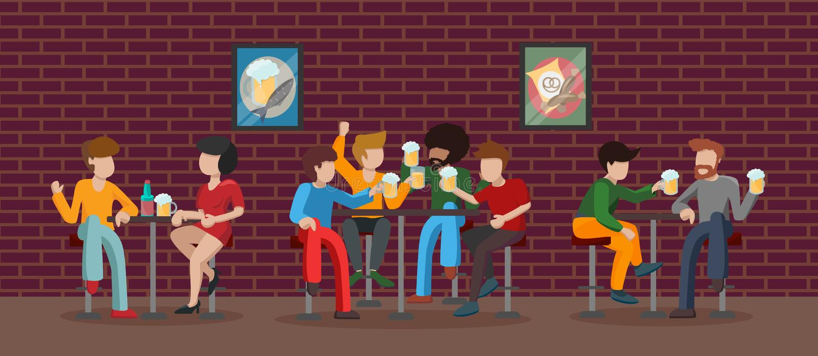 Bar interior room in building with brown brick wall. Characters drink beer. Three tables. Two pairs of people are sitting at a stock illustration