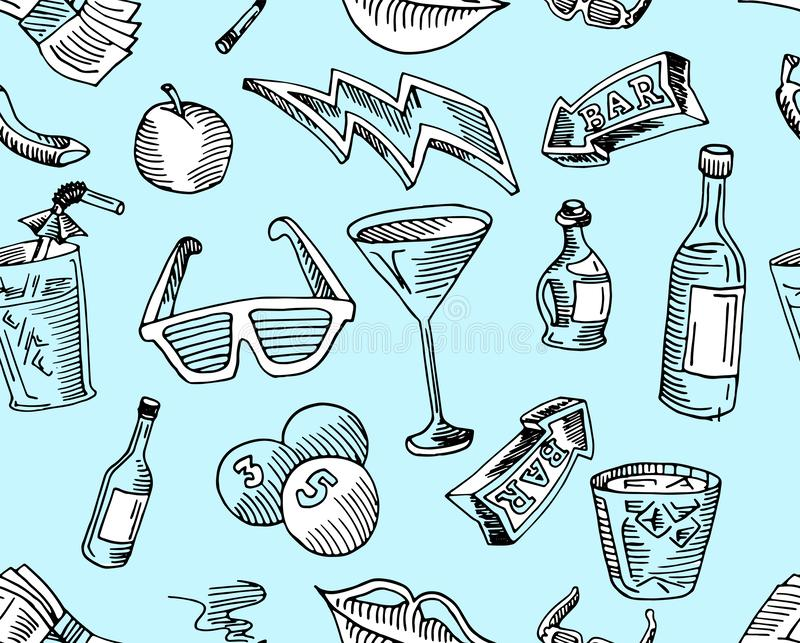 Bar, kawa, napój i strzała w arte wzorze wewnątrz, royalty ilustracja