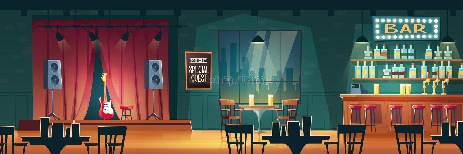 Bar with live music cartoon vector interior vector illustration